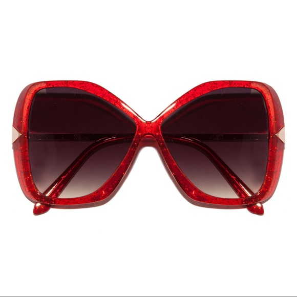 Glitter Glam Butterfly Red Crystal Sunglasses
